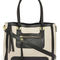 Steve Madden Bpreston Black and Light Taupe Tote