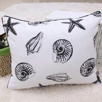 "Polyester Decorative Pillow Case Pillow Cover Case 13.7"" x 18"" Square Shape Full Starfish and Anchor Printed Surface"