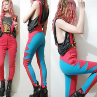 70s Vintage SKI PANTS Overalls BRACES Club Kid Rave Sports Highwaisted Bright Zigzag Tights Leggings 1970s vtg xs