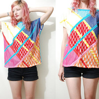 Vintage MESH Tshirt Netting Patchwork KITSCH Colourful Bright Tunic t-shirt Blouse Top 80s 1980s vtg M L
