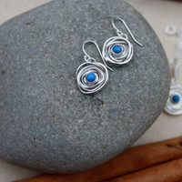 Lapis Sterling Silver Nest Earrings Birds Nest by KittyStoykovich