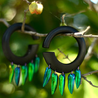 "7/16"" (11mm) Organic Wood, Metal, and Elyctra Beetle Wings 'Helios' Round Hoop Gauged Earrings / Plugs -living emeralds- SALE"