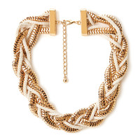 FOREVER 21 Funky Braided Choker Cream/Gold One
