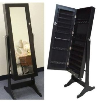 Black Mirrored Jewelry Cabinet Armoire Stand