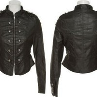 JOUJOU Faux Leather Military Inspired Moto Jacket [68-907], Black
