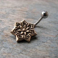 Star flower belly button ring