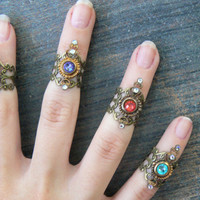 Swarovski midi ring CHOOSE ONE armor ring knuckle ring nail ring claw ring  tip ring  vampire goth victorian moon goddess pagan boho gypsy