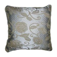 16x16 Teal Blue and Gold Floral Brocade Decorative Throw Pillow Cover