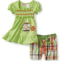 Young Hearts Baby-Girls Infant Tunic With Plaid Bermuda Short Set