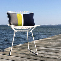 Yellow OUTDOOR Colorblock Pillow Cover (Custom Colors) - Modern Decor by JillianReneDecor - Gray, White & Navy - Summer Decor