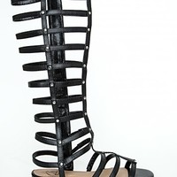 Missguided - Kendy Metallic Caged Gladiator Sandals In Black