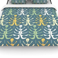 "Kess InHouse Julia Grifol ""My Leaves on Blue"" 88 by 88-Inch Woven Duvet Cover, Queen"