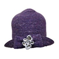 Purple Flapper Styled Cloche Hat With Jeweled Pin