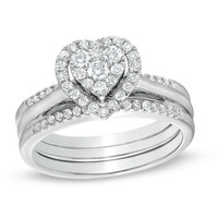 1/2 CT. T.W. Diamond Cluster Heart Frame Bridal Set in 10K White Gold - View All Rings - Zales