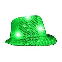 Green LED Flashing Fedora Hat with Sequins