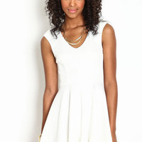 PLEATED PANELED SKATER DRESS