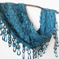 Teal Scarf -  Teal Lace Scarf - Blue Lace Scarf - Dainty Lace Scarf - Gift For Mother of the Bride