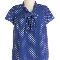 Tie for First Top in Dotted Navy - Plus Size | Mod Retro Vintage Short Sleeve Shirts | ModCloth.com