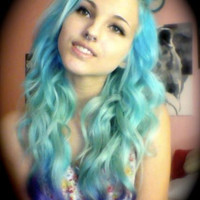 DEEP SEA Human Hair Extensions 22 Inch Blonde to Blue to Purple Clip In Hair Rainbow Ombre Dip Dye READY to Send