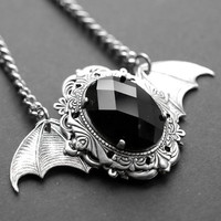 Bat Wings necklace - antique silver - jet black glass rhinestone - gothic victorian jewelry