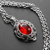Glass rhinestone necklace - Red - cameo, victorian gothic jewelry - everyday jewelry