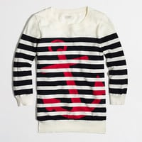 FACTORY INTARSIA STRIPE ANCHOR CREWNECK SWEATER