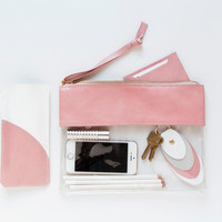 CHLOE Clutch in Prism Pink. Leather and Vinyl Clutch. Clear Clutch. Vinyl Clutch