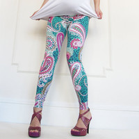 Maternity Fashion Paisley Summer Colours Print  Leggings Over Bump, Maternity, Maternity Pants, Maternity Clothing, Women Fashion, Leggings