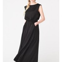 Black Bow Back Round Neck Maxi Dress