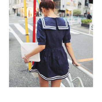 Nautical Dress With Big Collar Neck