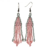 Pink and Gray Beaded Earrings