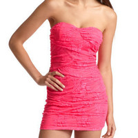 Charlotte Russe - Neon Lace Tube Dress