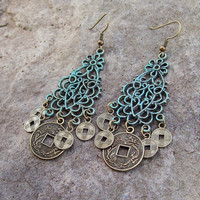 Coin Dangle Chandelier Earrings - Patina Earrings - Filigree Gypsy Earrings - Patina Boho Earrings