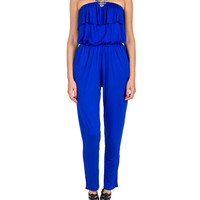 Ruffle Top Jersey Knit Jumpsuit - Royal