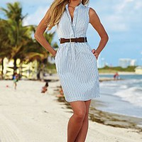 Blue And White (BLWH) Belted Shirtdress
