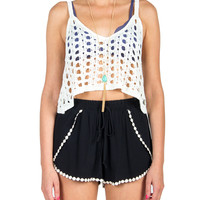 Holey Knit Crop Tank - Ivory