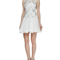 Rebecca Taylor Sleeveless Embellished Illusion Cocktail Dress