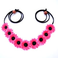 Hot Pink Flower Crown Hippie Headband Floral Crown Hot Pink Daisy Crown Festival Headpiece Coachella Festival Fashion EDM EDC Rave Wear