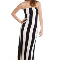 Fine Line Strapless Striped Maxi Dress - Black
