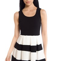Black and White Ball Colorblock Stripe Sleeveless Skater Dress - Black and White