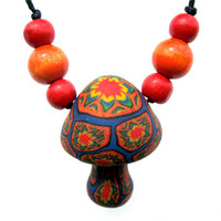 Mushroom pendant necklace, tribal patterns, millefiori, starburst, with wooden beads on thin adjustable cord, handmade from polymer clay