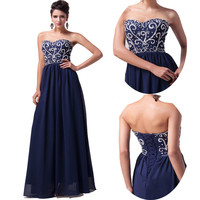 Long Navy Blue Evening Gown Bridesmaid Dresses Prom Dress Formal Party Ball Gown