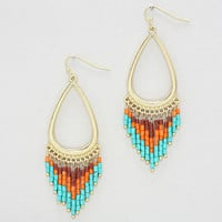 Teardrop Seed Bead Dangle Earrings Coral Turquoise