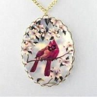 Red Cardinal Bird Dogwood Flowers Porcelain Cameo by JSCJewelry