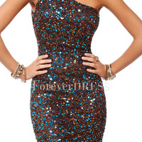 One-shoulder Mini-length Prom Dress Studded with Various Sequins