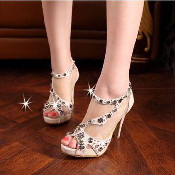 Rhinestone Heels Fish Head