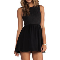 keepsake I'm His Girl Dress in Black Jacquard/Black