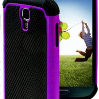 "myLife (TM) Purple and Black - Rugged Design (2 Piece Hybrid Bumper) Hard and Soft Case for the Samsung Galaxy S4 ""Fits Models: I9500, I9505, SPH-L720, Galaxy S IV, SGH-I337, SCH-I545, SGH-M919, SCH-R970 and Galaxy S4 LTE-A Touch Phone"" (Fitted Back Solid"