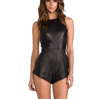 One Teaspoon The Bond Leather Romper in Black