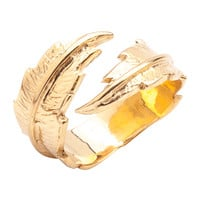 LeiVanKash Feather Fingertip Ring - Yellow Gold Ring - ShopBAZAAR